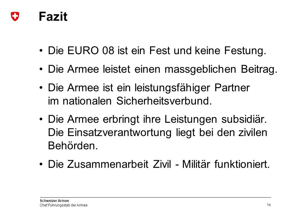 14 Schweizer Armee Chef Führungsstab der Armee Die EURO 08 ist ein Fest und keine Festung.