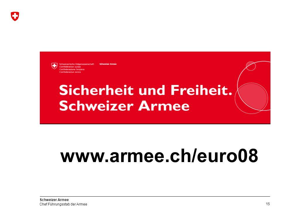 15 Schweizer Armee Chef Führungsstab der Armee www.armee.ch/euro08