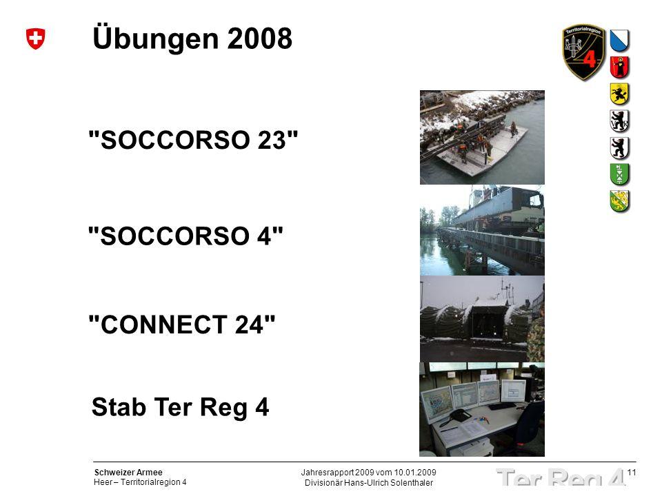 11 Schweizer Armee Heer – Territorialregion 4 Divisionär Hans-Ulrich Solenthaler Jahresrapport 2009 vom 10.01.2009 Übungen 2008 SOCCORSO 23 SOCCORSO 4 CONNECT 24 Stab Ter Reg 4