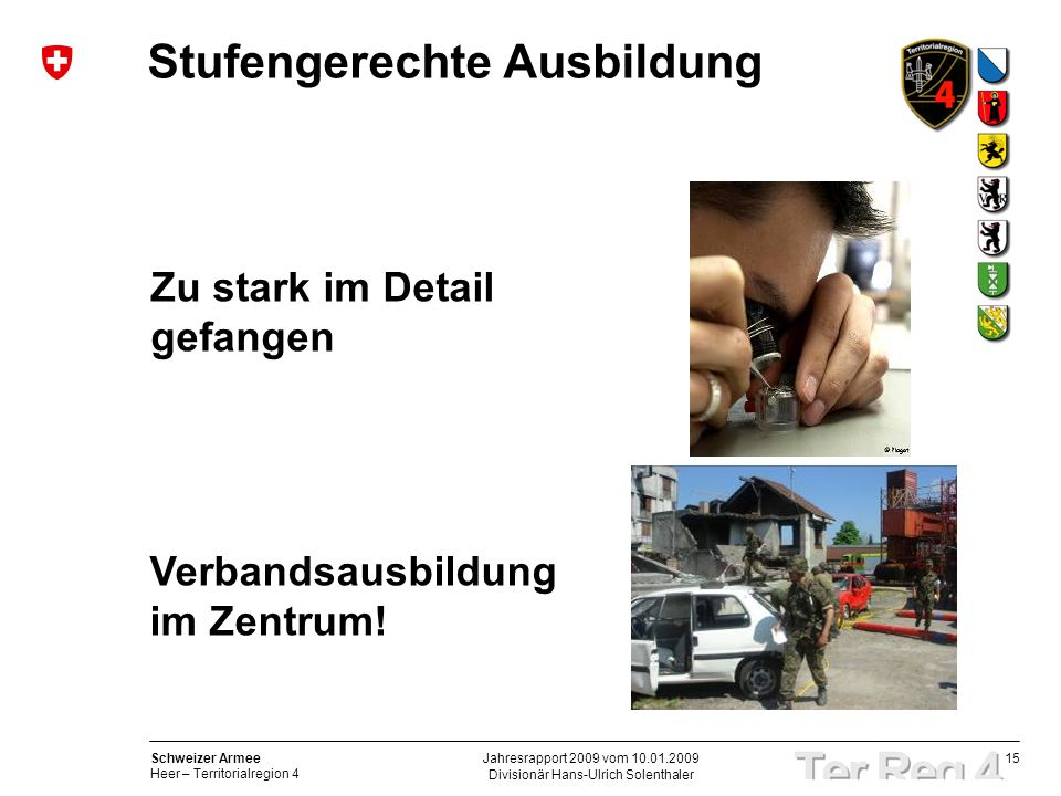 15 Schweizer Armee Heer – Territorialregion 4 Divisionär Hans-Ulrich Solenthaler Jahresrapport 2009 vom 10.01.2009 Stufengerechte Ausbildung Zu stark im Detail gefangen Verbandsausbildung im Zentrum!