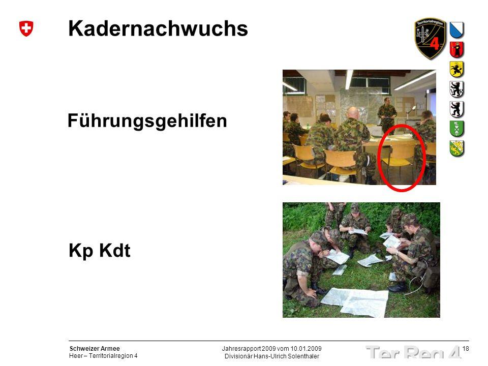 18 Schweizer Armee Heer – Territorialregion 4 Divisionär Hans-Ulrich Solenthaler Jahresrapport 2009 vom 10.01.2009 Kadernachwuchs Führungsgehilfen Kp Kdt