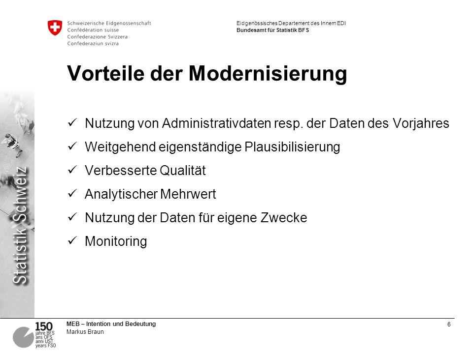 7 MEB – Intention und Bedeutung Markus Braun Eidgenössisches Departement des Innern EDI Bundesamt für Statistik BFS Vorteile der Modernisierung Nutzung von Administrativdaten resp.