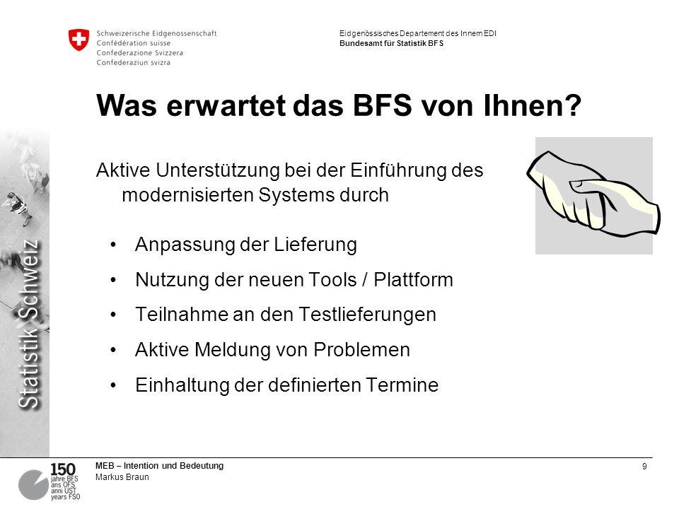 10 MEB – Intention und Bedeutung Markus Braun Eidgenössisches Departement des Innern EDI Bundesamt für Statistik BFS Was erwartet der Kanton von Ihnen.