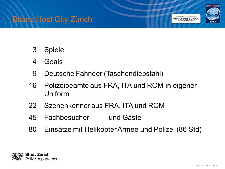 Stadt Zürich, 25.06.2007, Seite # Bilanz Host City Zürich 3 Spiele 4 Goals 9 Deutsche Fahnder (Taschendiebstahl) 16 Polizeibeamte aus FRA, ITA und ROM