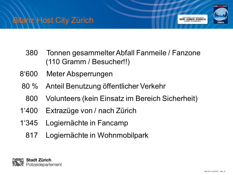 Stadt Zürich, 25.06.2007, Seite # Bilanz Host City Zürich 380Tonnen gesammelter Abfall Fanmeile / Fanzone (110 Gramm / Besucher!!) 8600Meter Absperrun
