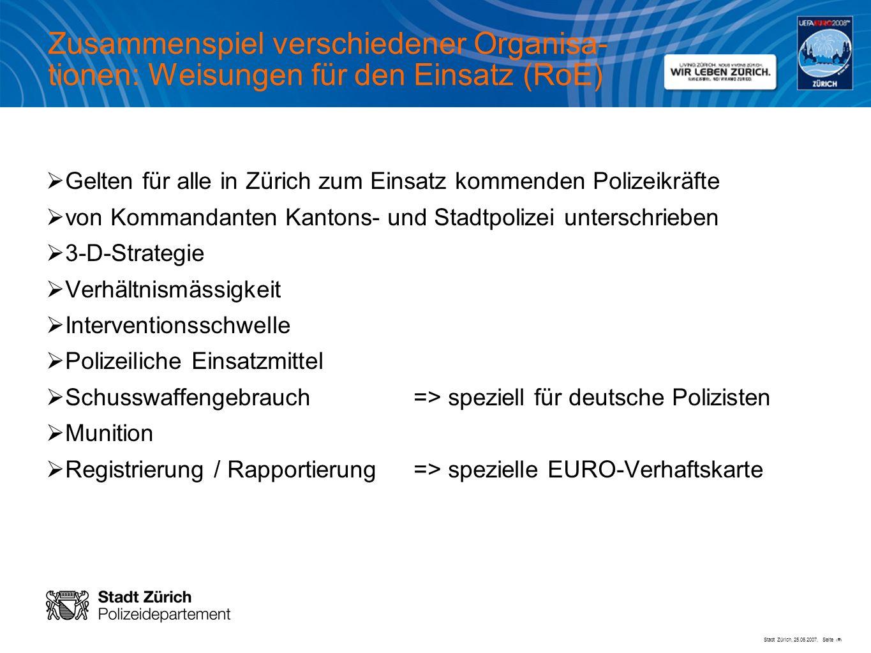Stadt Zürich, 25.06.2007, Seite # Zusammenspiel verschiedener Organisa- tionen: Weisungen für den Einsatz (RoE) Gelten für alle in Zürich zum Einsatz