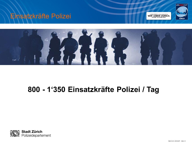 Stadt Zürich, 25.06.2007, Seite # 800 - 1350 Einsatzkräfte Polizei / Tag Einsatzkräfte Polizei