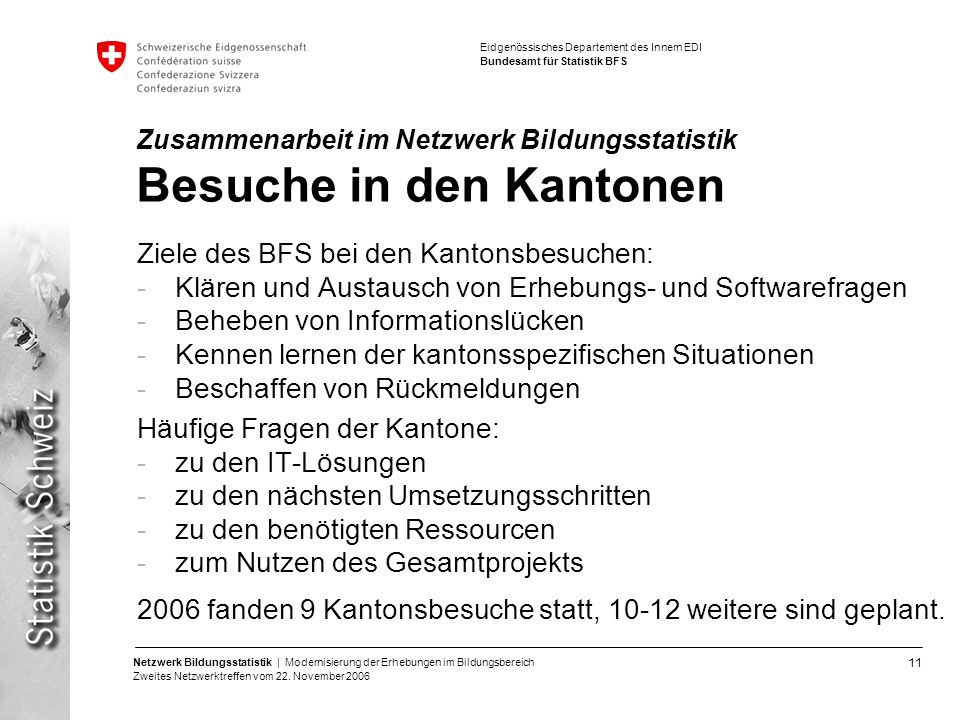 11 Netzwerk Bildungsstatistik | Modernisierung der Erhebungen im Bildungsbereich Zweites Netzwerktreffen vom 22. November 2006 Eidgenössisches Departe
