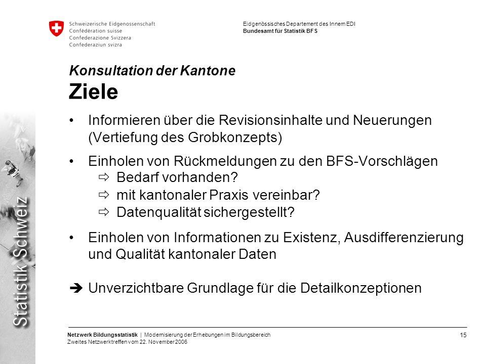 15 Netzwerk Bildungsstatistik | Modernisierung der Erhebungen im Bildungsbereich Zweites Netzwerktreffen vom 22. November 2006 Eidgenössisches Departe