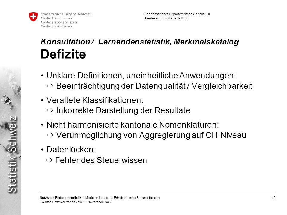 19 Netzwerk Bildungsstatistik | Modernisierung der Erhebungen im Bildungsbereich Zweites Netzwerktreffen vom 22. November 2006 Eidgenössisches Departe