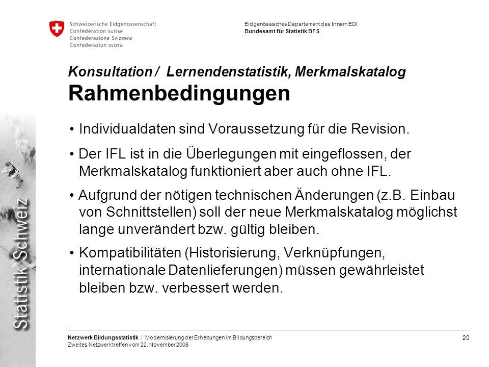 20 Netzwerk Bildungsstatistik | Modernisierung der Erhebungen im Bildungsbereich Zweites Netzwerktreffen vom 22. November 2006 Eidgenössisches Departe
