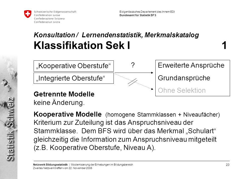 23 Netzwerk Bildungsstatistik | Modernisierung der Erhebungen im Bildungsbereich Zweites Netzwerktreffen vom 22. November 2006 Eidgenössisches Departe