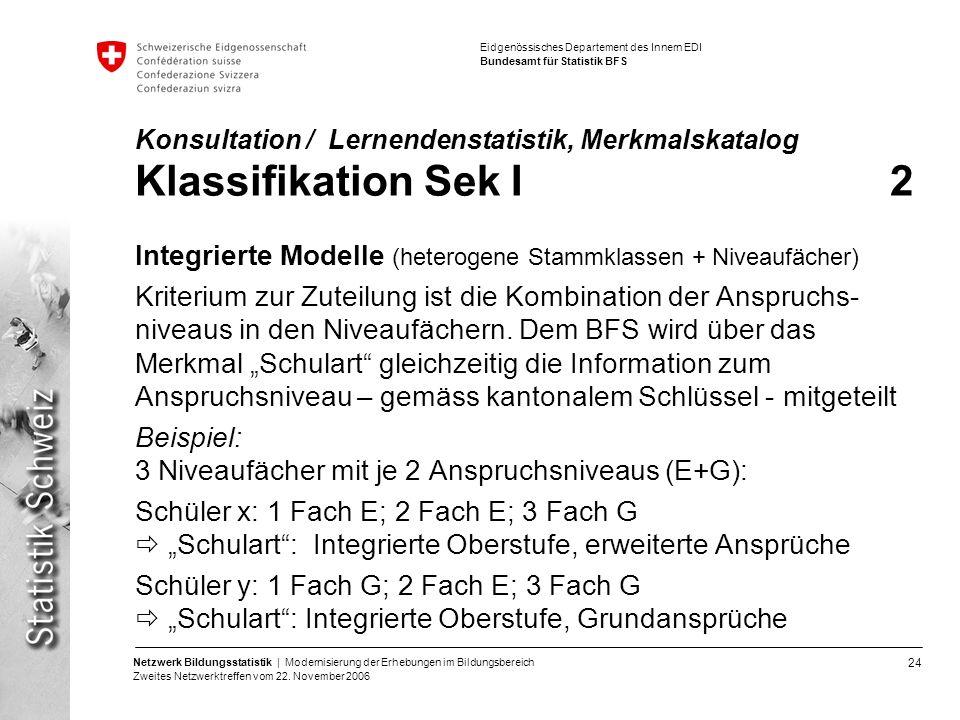24 Netzwerk Bildungsstatistik | Modernisierung der Erhebungen im Bildungsbereich Zweites Netzwerktreffen vom 22. November 2006 Eidgenössisches Departe