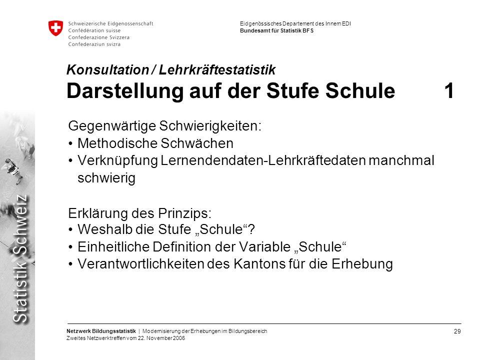 29 Netzwerk Bildungsstatistik | Modernisierung der Erhebungen im Bildungsbereich Zweites Netzwerktreffen vom 22. November 2006 Eidgenössisches Departe
