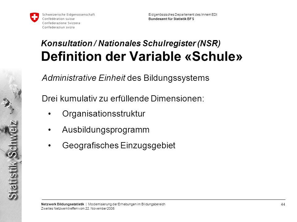 44 Netzwerk Bildungsstatistik | Modernisierung der Erhebungen im Bildungsbereich Zweites Netzwerktreffen vom 22. November 2006 Eidgenössisches Departe
