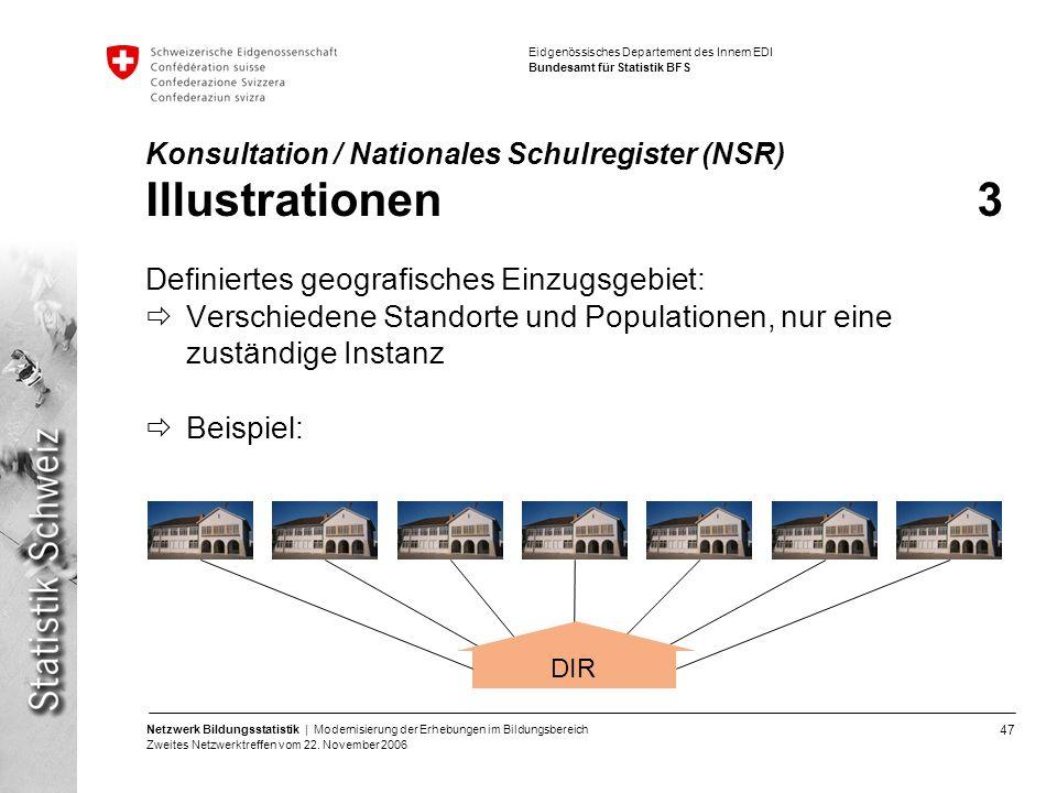 47 Netzwerk Bildungsstatistik | Modernisierung der Erhebungen im Bildungsbereich Zweites Netzwerktreffen vom 22. November 2006 Eidgenössisches Departe
