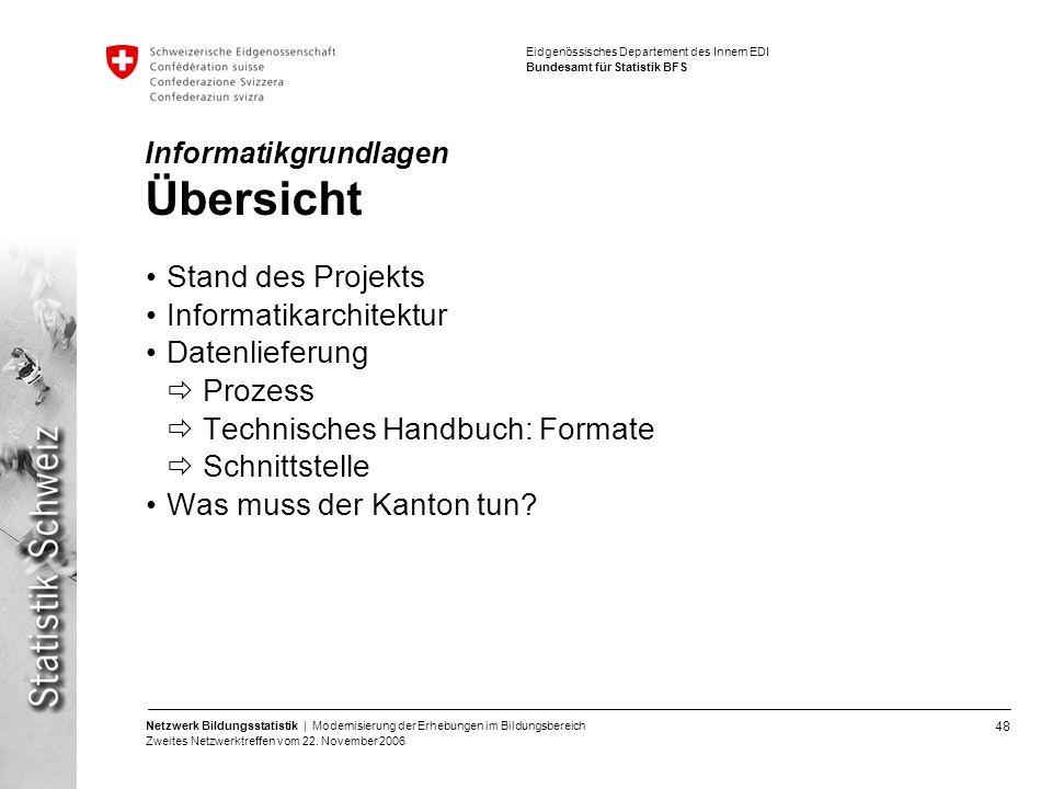 48 Netzwerk Bildungsstatistik | Modernisierung der Erhebungen im Bildungsbereich Zweites Netzwerktreffen vom 22. November 2006 Eidgenössisches Departe