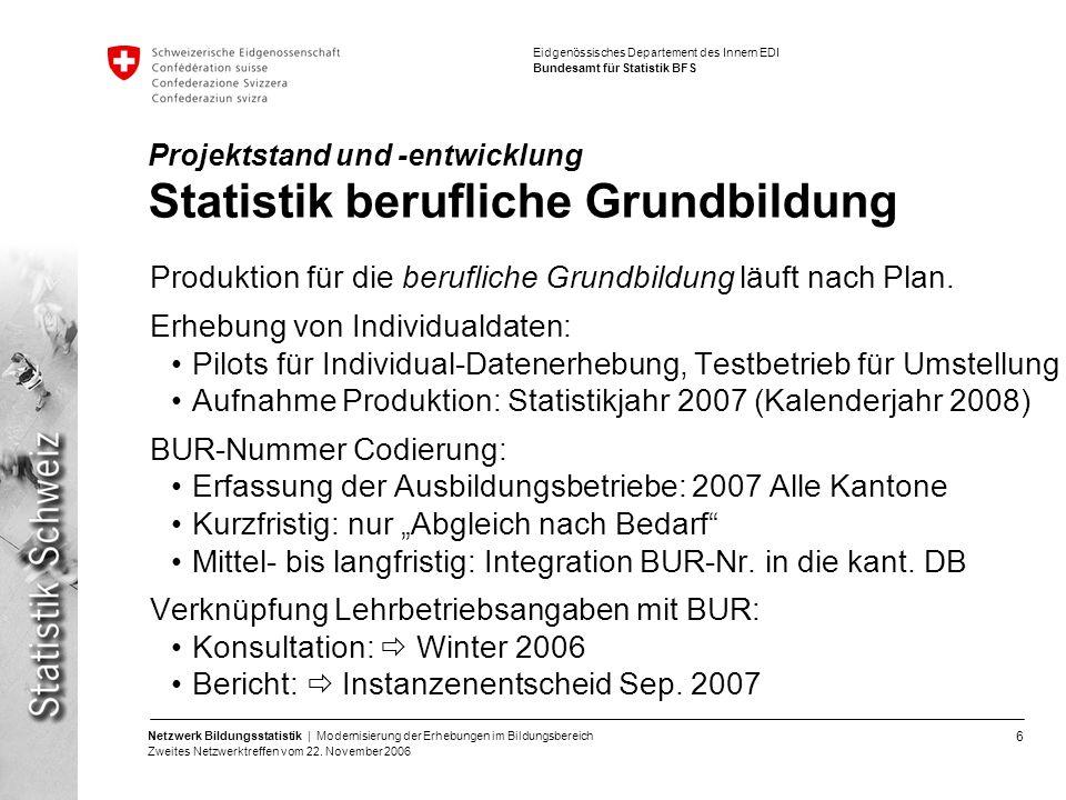 6 Netzwerk Bildungsstatistik | Modernisierung der Erhebungen im Bildungsbereich Zweites Netzwerktreffen vom 22. November 2006 Eidgenössisches Departem