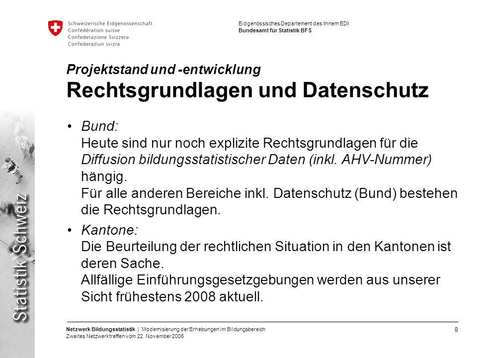 8 Netzwerk Bildungsstatistik | Modernisierung der Erhebungen im Bildungsbereich Zweites Netzwerktreffen vom 22. November 2006 Eidgenössisches Departem