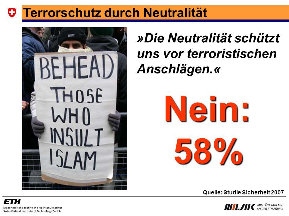 Terrorschutz durch Neutralität »Die Neutralität schützt uns vor terroristischen Anschlägen.« Quelle: Studie Sicherheit 2007 Nein: 58% 58%