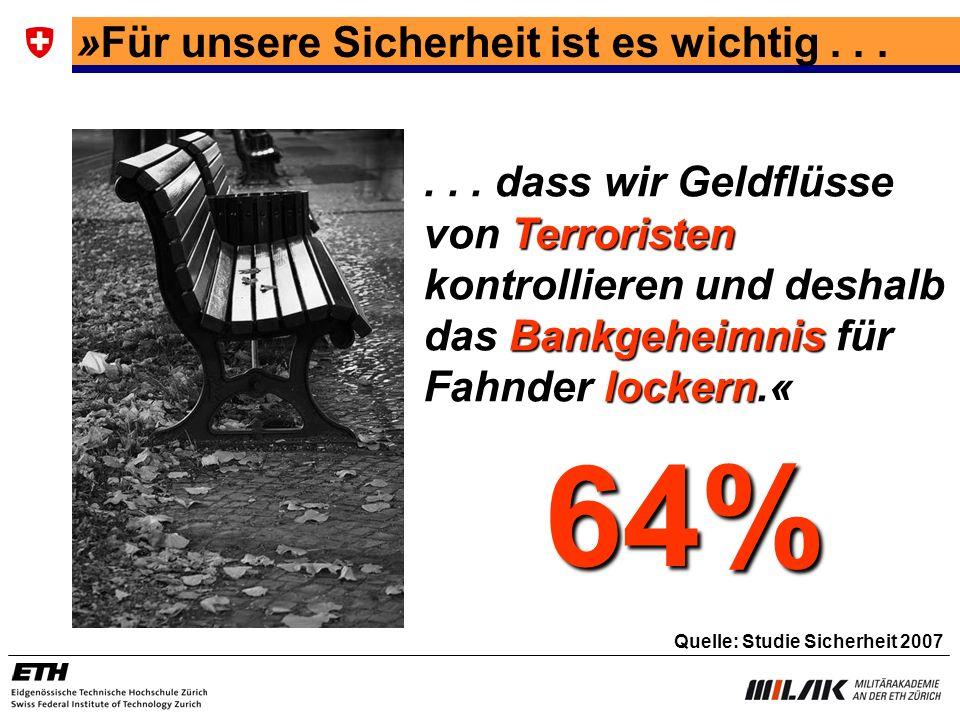 »Für unsere Sicherheit ist es wichtig...... dass wir Geldflüsse von Terroristen kontrollieren und deshalb das Bankgeheimnis für Fahnder lockern.« 64%