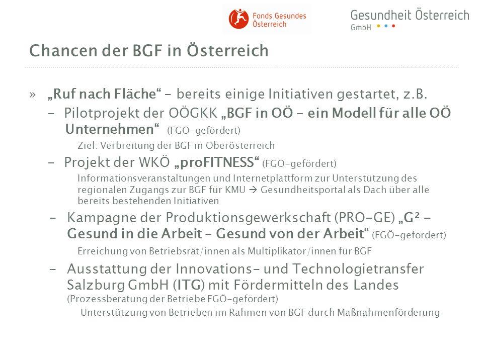 Chancen der BGF in Österreich »Ruf nach Fläche - bereits einige Initiativen gestartet, z.B. - Pilotprojekt der OÖGKK BGF in OÖ – ein Modell für alle O
