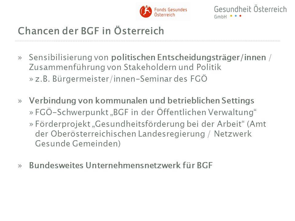 Chancen der BGF in Österreich »Sensibilisierung von politischen Entscheidungsträger/innen / Zusammenführung von Stakeholdern und Politik »z.B. Bürgerm