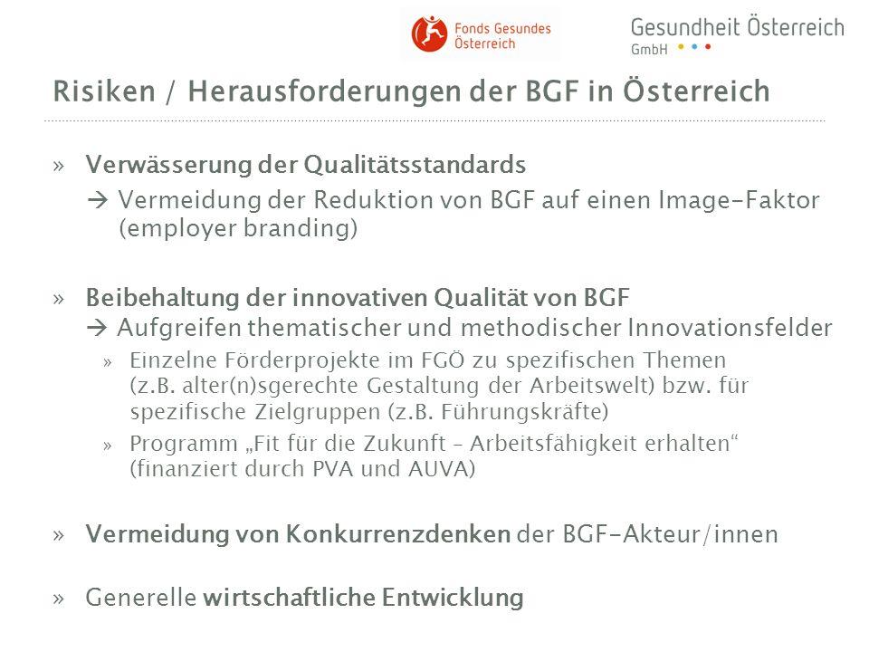 Risiken / Herausforderungen der BGF in Österreich »Verwässerung der Qualitätsstandards Vermeidung der Reduktion von BGF auf einen Image-Faktor (employ