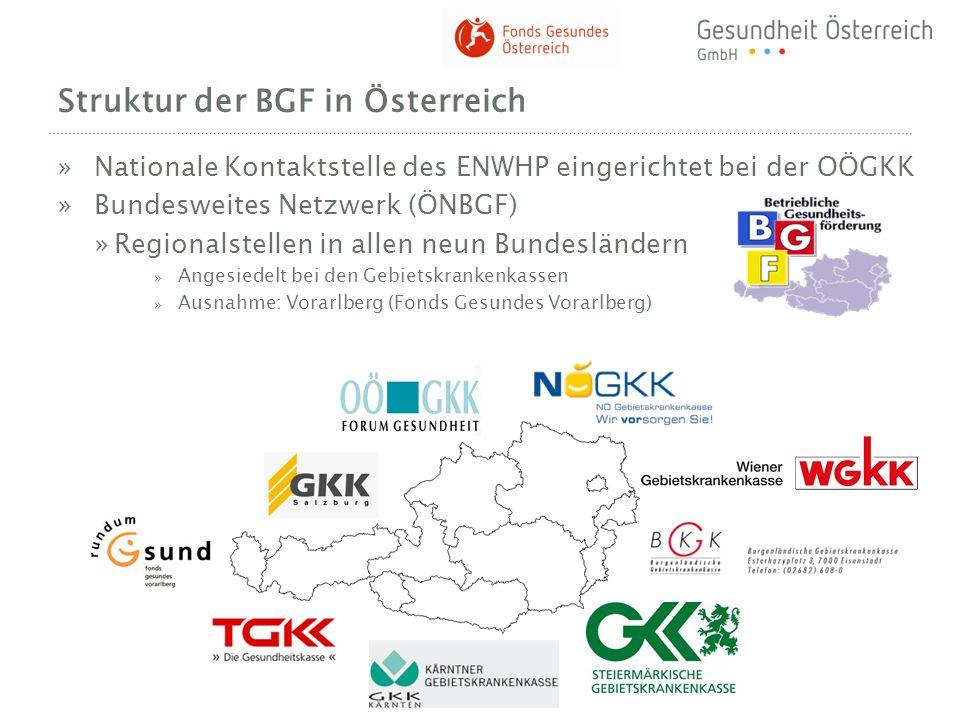 Struktur der BGF in Österreich »Nationale Kontaktstelle des ENWHP eingerichtet bei der OÖGKK »Bundesweites Netzwerk (ÖNBGF) »Regionalstellen in allen
