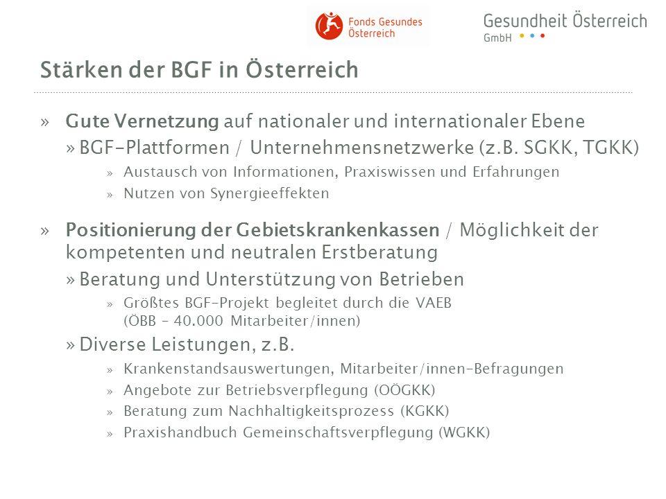 Stärken der BGF in Österreich »Gute Vernetzung auf nationaler und internationaler Ebene »BGF-Plattformen / Unternehmensnetzwerke (z.B. SGKK, TGKK) » A