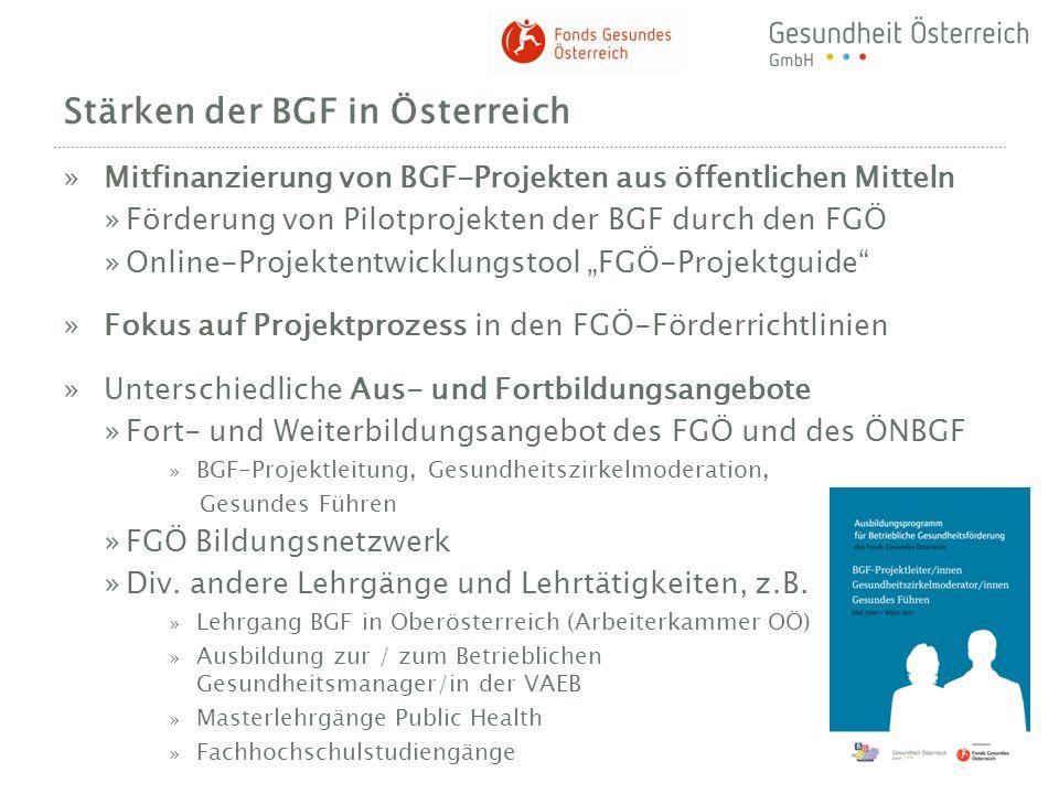 Stärken der BGF in Österreich »Mitfinanzierung von BGF-Projekten aus öffentlichen Mitteln »Förderung von Pilotprojekten der BGF durch den FGÖ »Online-