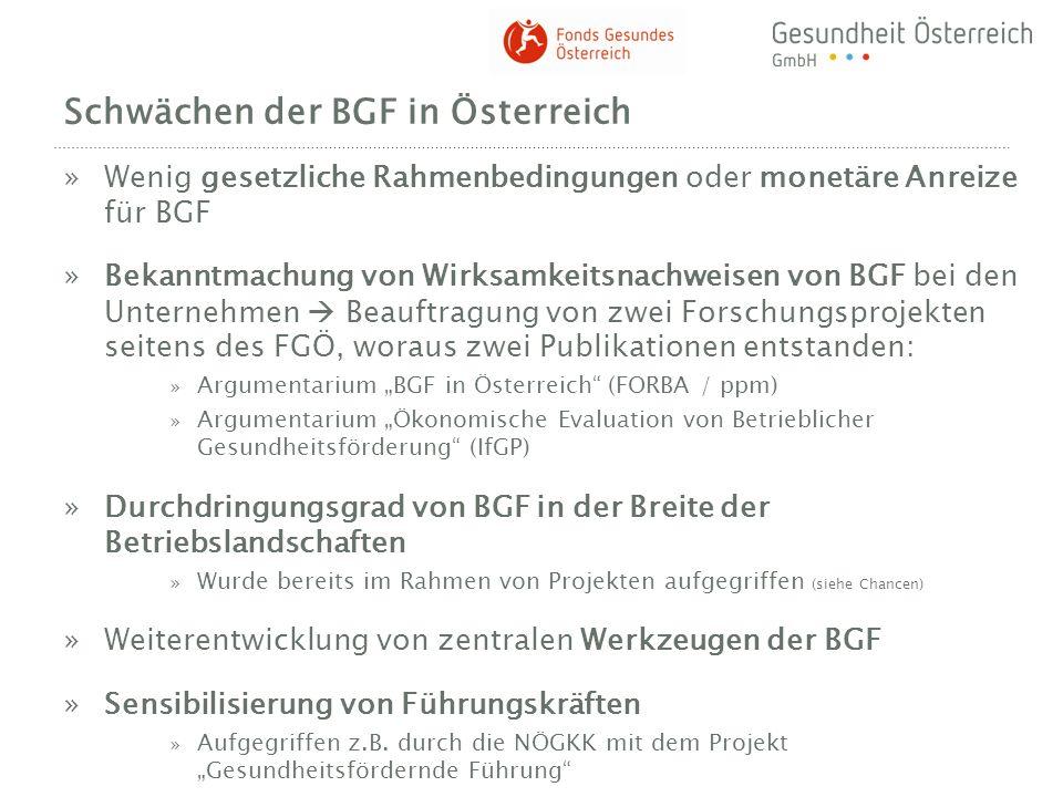 Schwächen der BGF in Österreich »Wenig gesetzliche Rahmenbedingungen oder monetäre Anreize für BGF »Bekanntmachung von Wirksamkeitsnachweisen von BGF