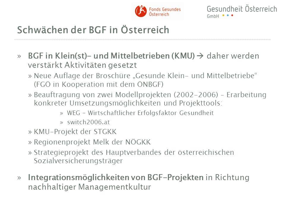 Schwächen der BGF in Österreich »BGF in Klein(st)- und Mittelbetrieben (KMU) daher werden verstärkt Aktivitäten gesetzt »Neue Auflage der Broschüre Ge