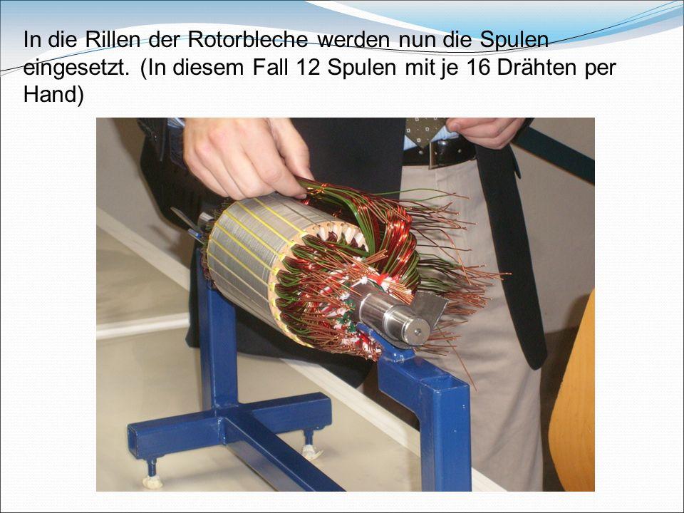 In die Rillen der Rotorbleche werden nun die Spulen eingesetzt. (In diesem Fall 12 Spulen mit je 16 Drähten per Hand)