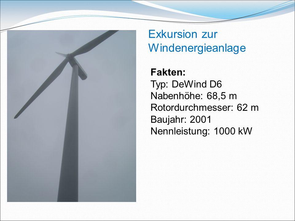 Exkursion zur Windenergieanlage Fakten: Typ: DeWind D6 Nabenhöhe: 68,5 m Rotordurchmesser: 62 m Baujahr: 2001 Nennleistung: 1000 kW