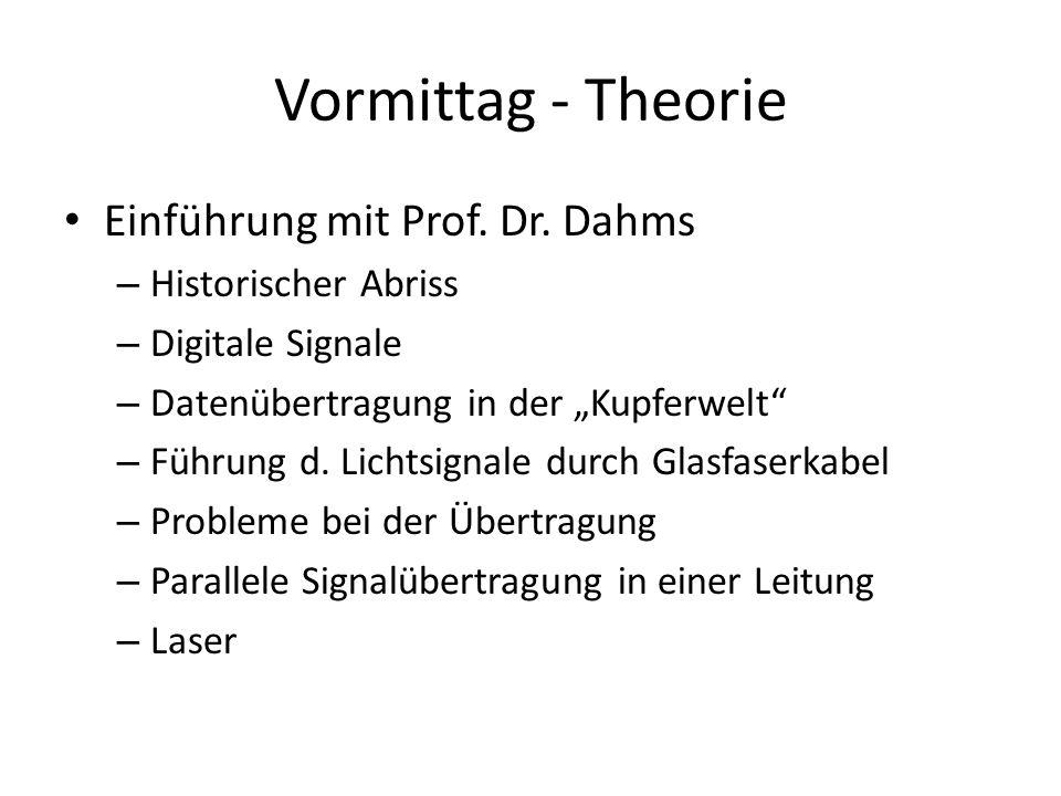 Vormittag - Theorie Einführung mit Prof. Dr. Dahms – Historischer Abriss – Digitale Signale – Datenübertragung in der Kupferwelt – Führung d. Lichtsig