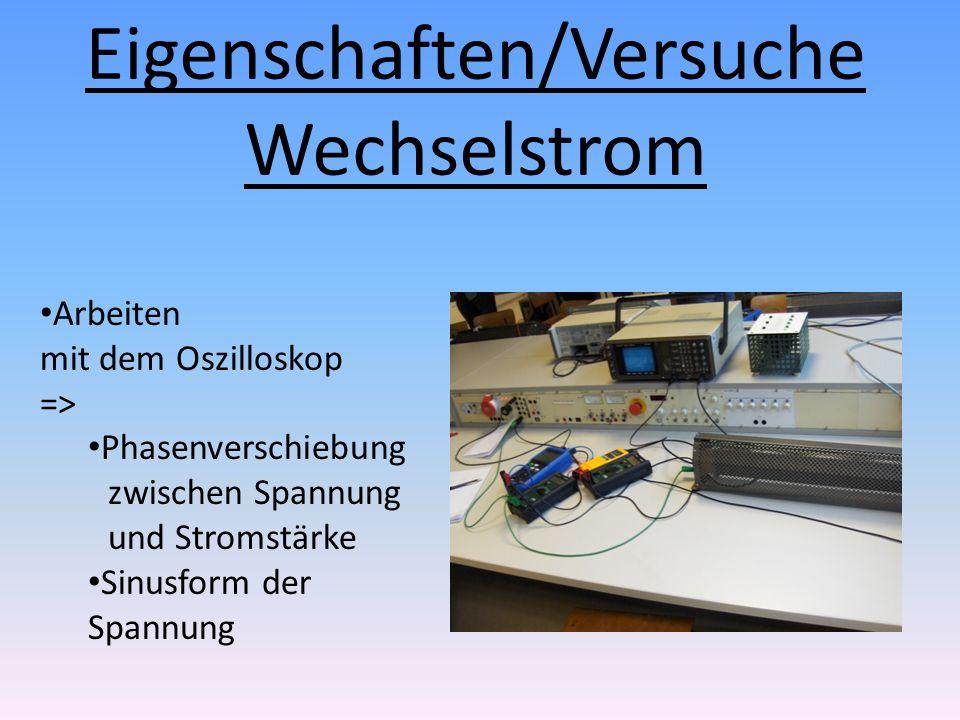 Eigenschaften/Versuche Wechselstrom Arbeiten mit dem Oszilloskop => Phasenverschiebung zwischen Spannung und Stromstärke Sinusform der Spannung