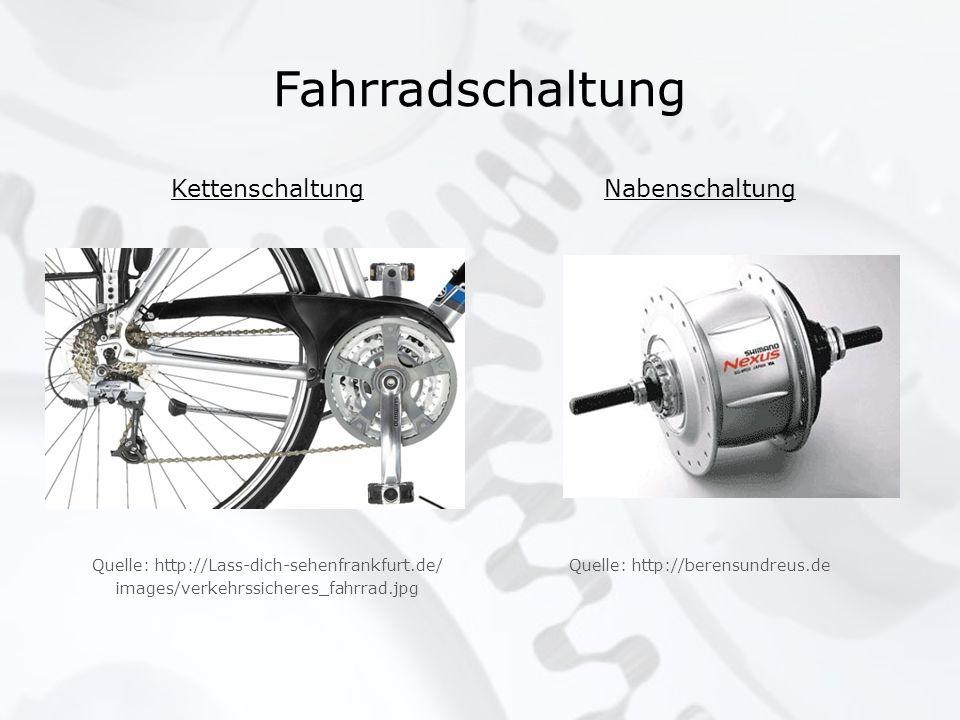 Fahrradschaltung Kettenschaltung Quelle: http://Lass-dich-sehenfrankfurt.de/ images/verkehrssicheres_fahrrad.jpg Nabenschaltung Quelle: http://berensu