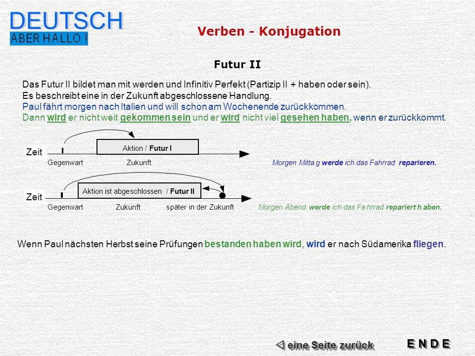 DEUTSCH Futur II Das Futur II bildet man mit werden und Infinitiv Perfekt (Partizip II + haben oder sein).
