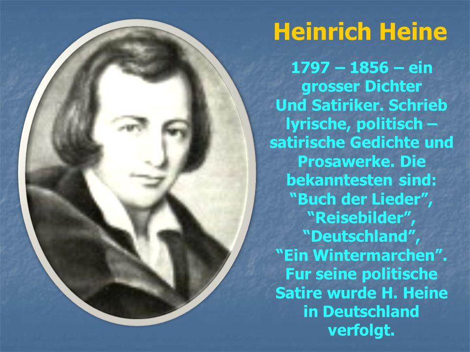 Johann Wolfgang von Goethe 1749 – 1832 – der weltberuhmte deutsche Dichter und Wissenschaftler. Seit 1794 mit F/ Schiller befreundet. Schrieb lyrische