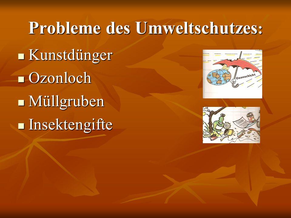 Probleme des Umweltschutzes : Kunstdünger Kunstdünger Ozonloch Ozonloch Müllgruben Müllgruben Insektengifte Insektengifte