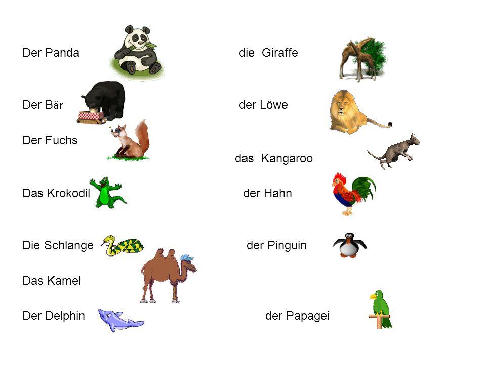 Der Panda die Giraffe Der B är der Löwe Der Fuchs das Kangaroo Das Krokodil der Hahn Die Schlange der Pinguin Das Kamel Der Delphin der Papagei