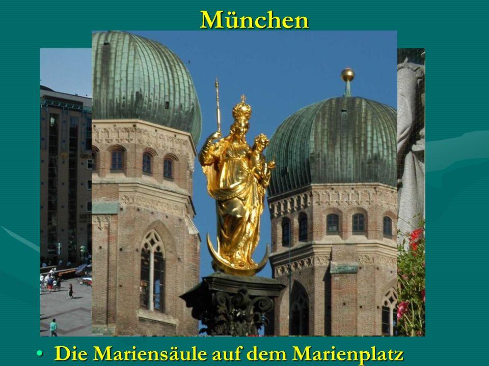 München Die Mariensäule auf dem MarienplatzDie Mariensäule auf dem Marienplatz