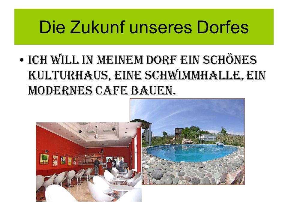 Die Zukunf unseres Dorfes Ich will in meinem Dorf ein schönes Kulturhaus, einE schwimmhalle, ein MODERNES cAfe bauen.