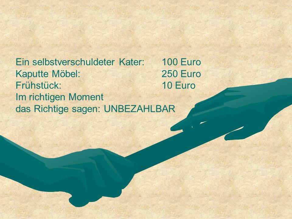 Ein selbstverschuldeter Kater: 100 Euro Kaputte Möbel: 250 Euro Frühstück: 10 Euro Im richtigen Moment das Richtige sagen: UNBEZAHLBAR
