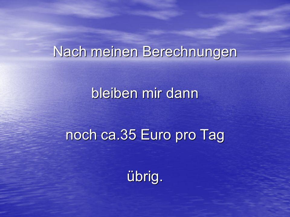 Nach meinen Berechnungen bleiben mir dann noch ca.35 Euro pro Tag übrig.