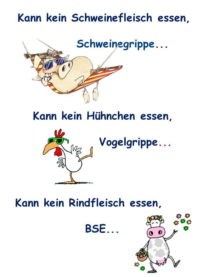 Kann kein Schweinefleisch essen, Schweinegrippe... Kann kein Rindfleisch essen, BSE... Kann kein Hühnchen essen, Vogelgrippe...