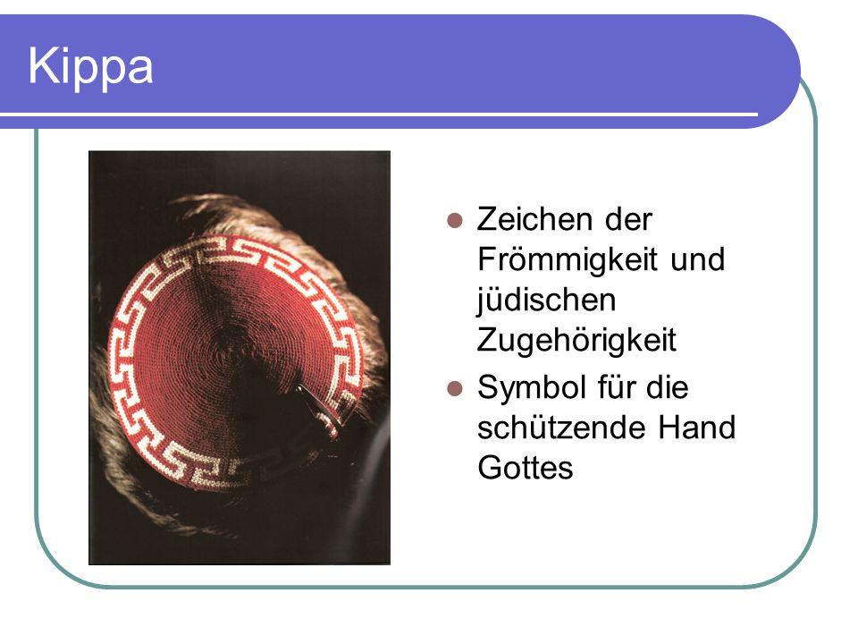 Kippa Zeichen der Frömmigkeit und jüdischen Zugehörigkeit Symbol für die schützende Hand Gottes