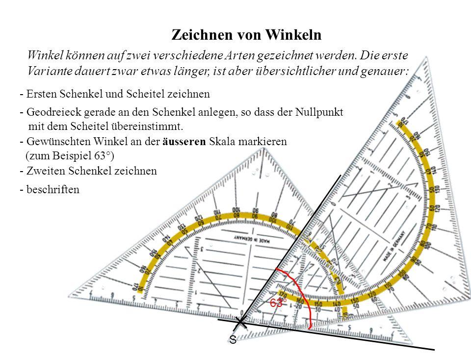 Zeichnen von Winkeln - Ersten Schenkel und Scheitel zeichnen - Geodreieck gerade an den Schenkel anlegen, so dass der Nullpunkt mit dem Scheitel übere