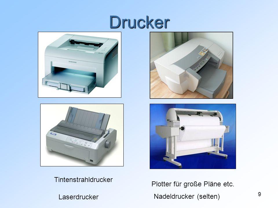 9 Drucker Laserdrucker Tintenstrahldrucker Nadeldrucker (selten) Plotter für große Pläne etc.